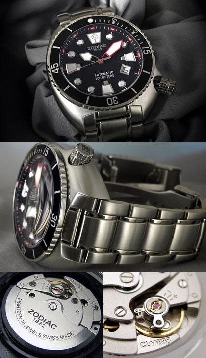 8dc5c25eb5c Relógio Automático Suiço Zodiac de mergulho 200m - Oceanaire Preto ...