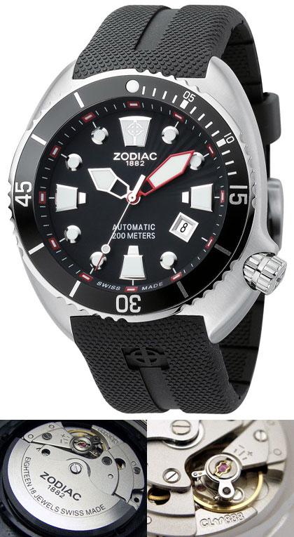 3aed59328b2 Relógio Automático Suiço Zodiac de mergulho 200m - Oceanaire Preto ...