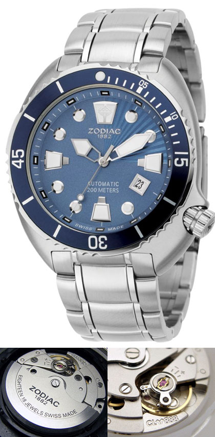 6a90879002d Relógio Automático Suiço Zodiac de mergulho 200m - Oceanaire Azul ...