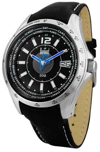9675fdd1f1a Relogio moderno pulseira em couro pespontada fundo preto masculino -  SE30065P - Dumont - WKshop