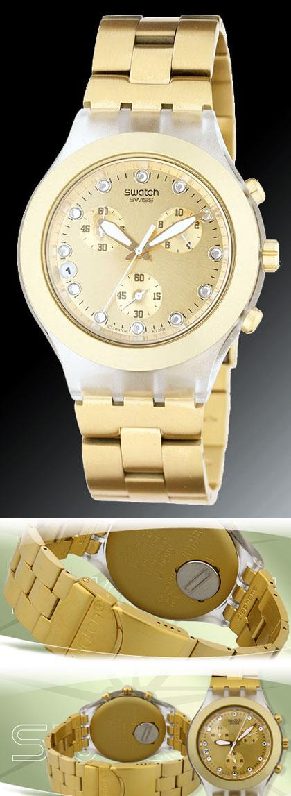 9cc8c916d69 Relógio Feminino Swatch Full Blooded Gold Crono Svarovski