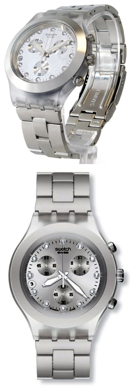 b27f705aac9 Relógio Feminino Swatch Full Blooded Silver Crono Svarovski ...